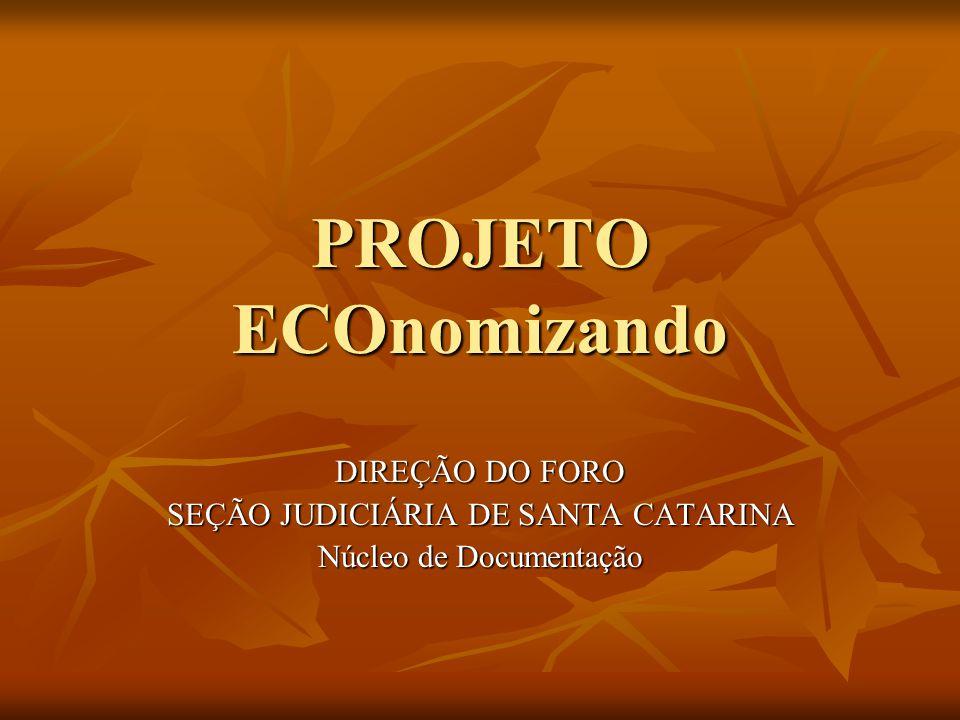 PROJETO ECOnomizando DIREÇÃO DO FORO SEÇÃO JUDICIÁRIA DE SANTA CATARINA Núcleo de Documentação