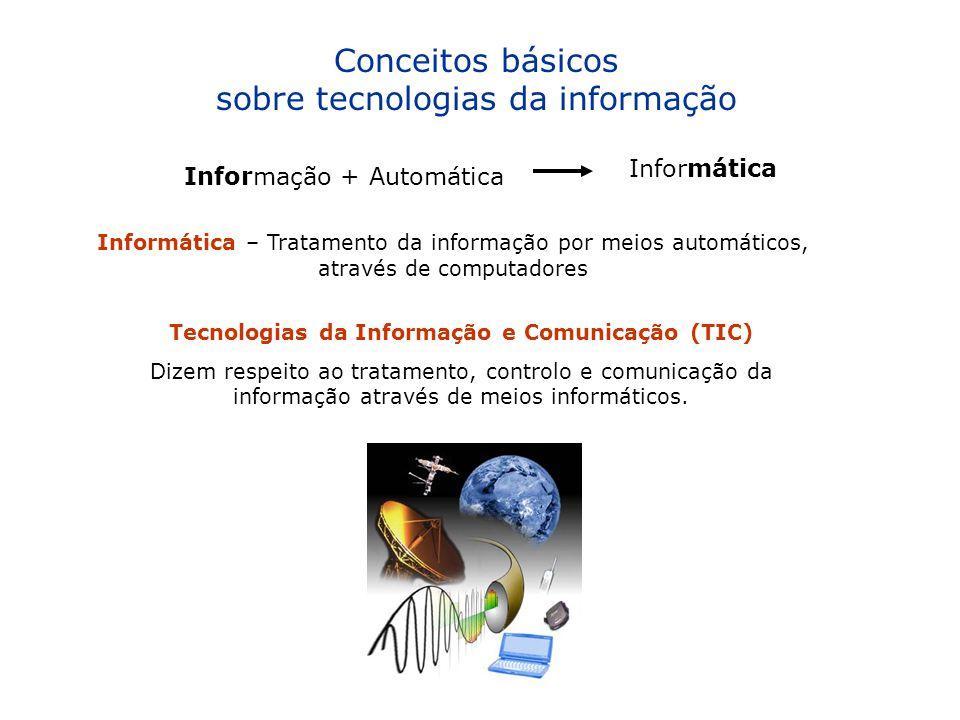 Conceitos básicos sobre tecnologias da informação Informação + Automática Informática Informática – Tratamento da informação por meios automáticos, at