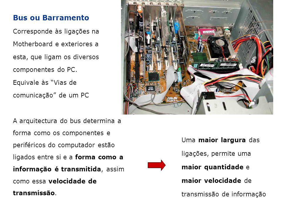 Bus ou Barramento Corresponde às ligações na Motherboard e exteriores a esta, que ligam os diversos componentes do PC. Equivale às Vias de comunicação