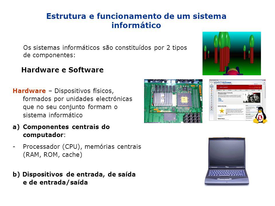 Estrutura e funcionamento de um sistema informático Os sistemas informáticos são constituídos por 2 tipos de componentes: Hardware e Software Hardware
