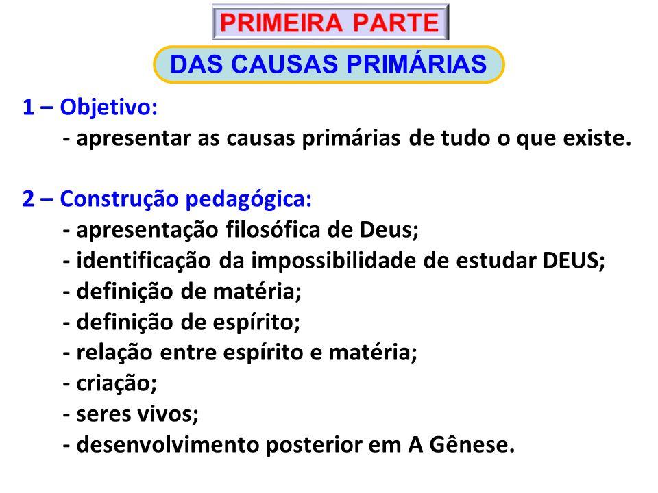 1 – Objetivo: - apresentar as causas primárias de tudo o que existe.