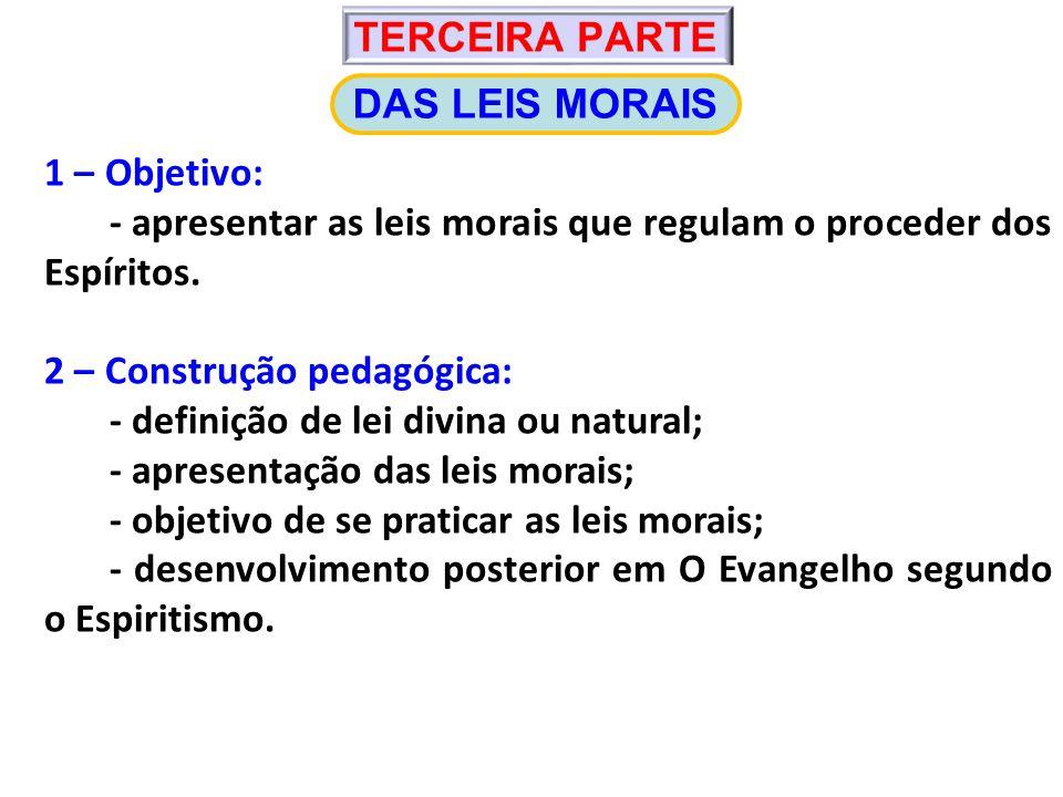 1 – Objetivo: - apresentar as leis morais que regulam o proceder dos Espíritos.