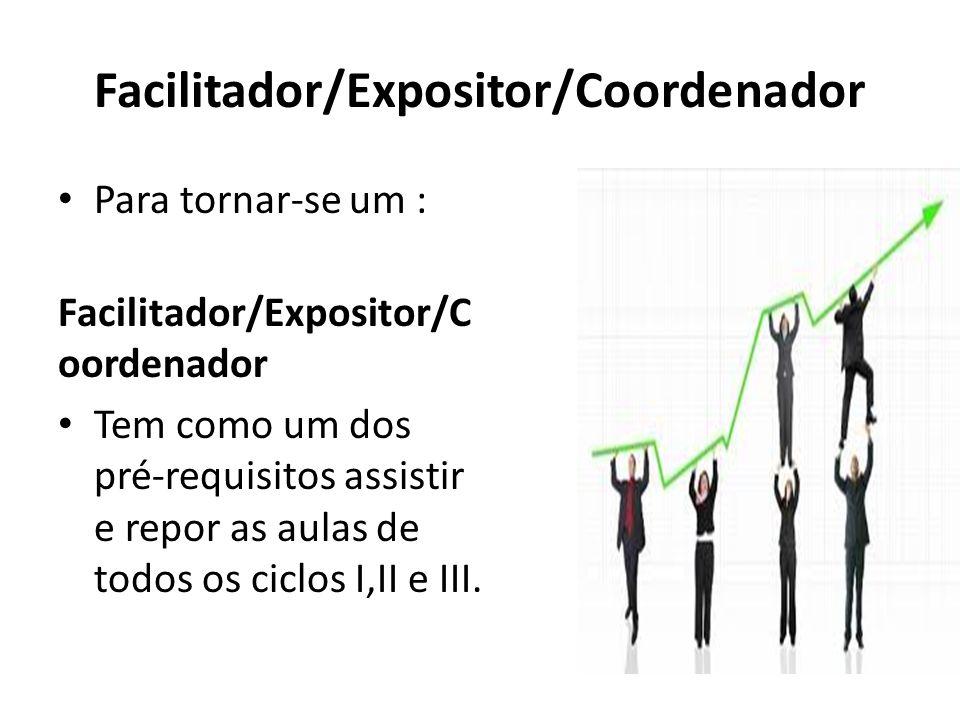 Facilitador/Expositor/Coordenador Para tornar-se um : Facilitador/Expositor/C oordenador Tem como um dos pré-requisitos assistir e repor as aulas de t
