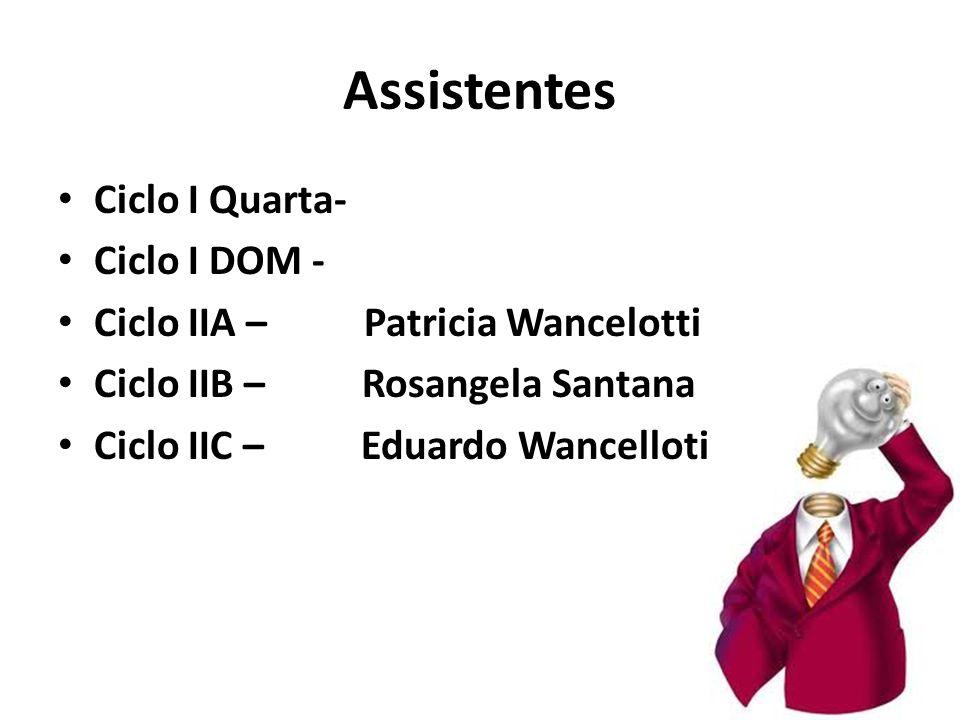 Assistentes Ciclo I Quarta- Ciclo I DOM - Ciclo IIA – Patricia Wancelotti Ciclo IIB – Rosangela Santana Ciclo IIC – Eduardo Wancellotii