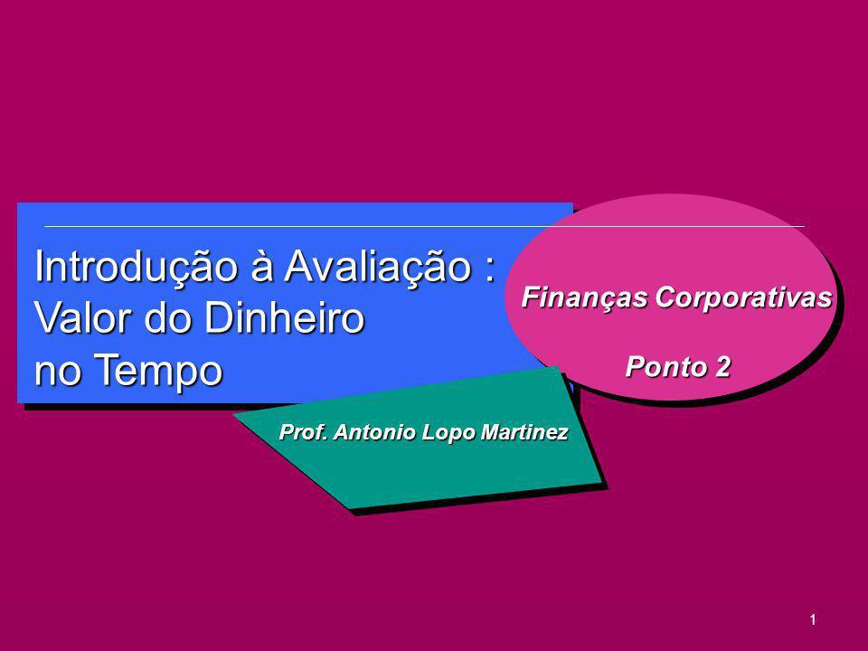 1 Introdução à Avaliação : Valor do Dinheiro no Tempo Finanças Corporativas Ponto 2 Ponto 2 Prof. Antonio Lopo Martinez