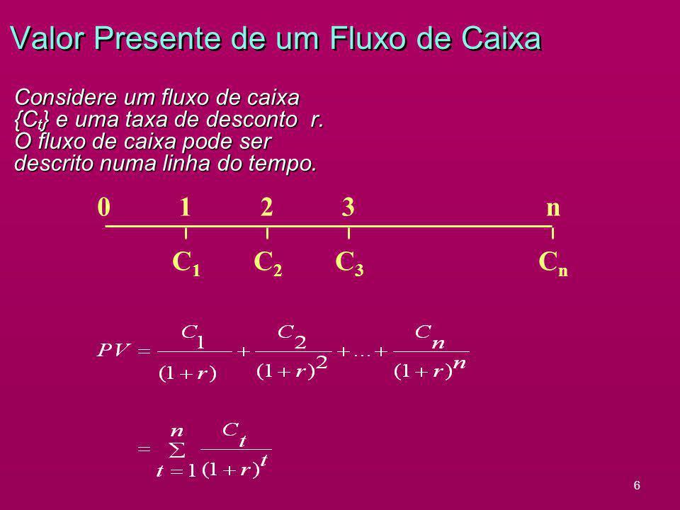 6 Valor Presente de um Fluxo de Caixa Considere um fluxo de caixa {C t } e uma taxa de desconto r. O fluxo de caixa pode ser descrito numa linha do te