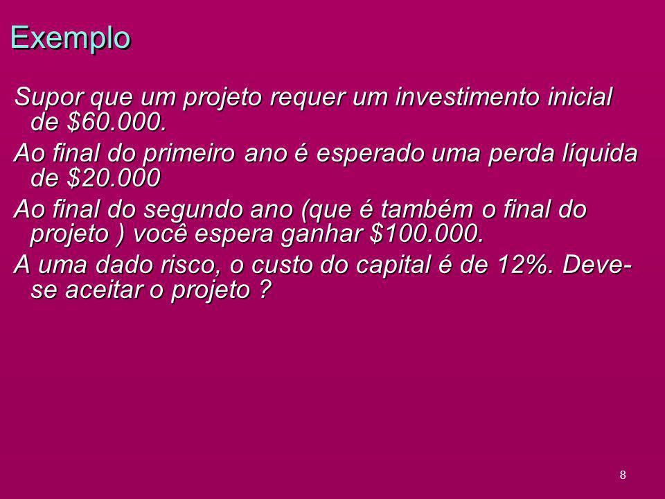 8 Exemplo Supor que um projeto requer um investimento inicial de $60.000. Ao final do primeiro ano é esperado uma perda líquida de $20.000 Ao final do