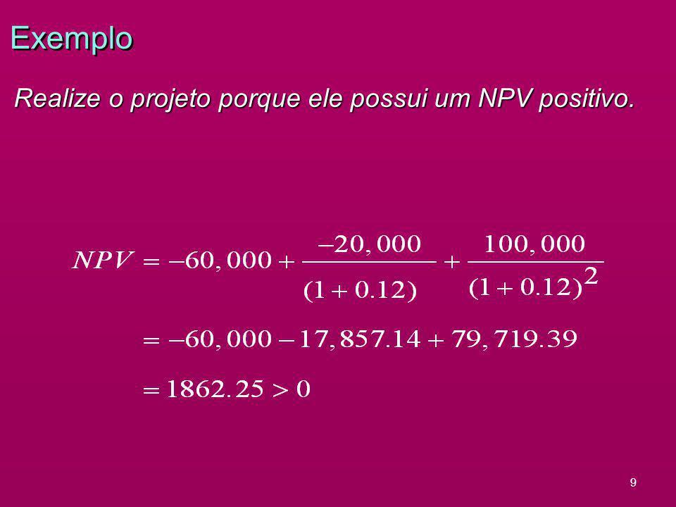 9 Exemplo Realize o projeto porque ele possui um NPV positivo.
