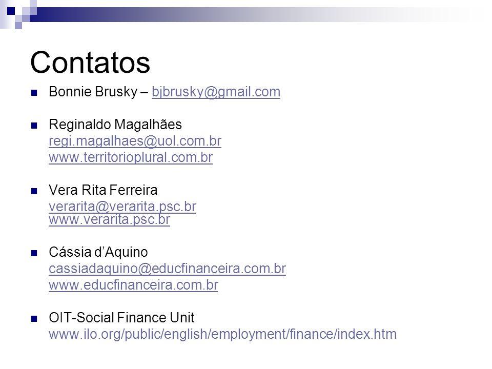 Contatos Bonnie Brusky – bjbrusky@gmail.combjbrusky@gmail.com Reginaldo Magalhães regi.magalhaes@uol.com.br www.territorioplural.com.br Vera Rita Ferr