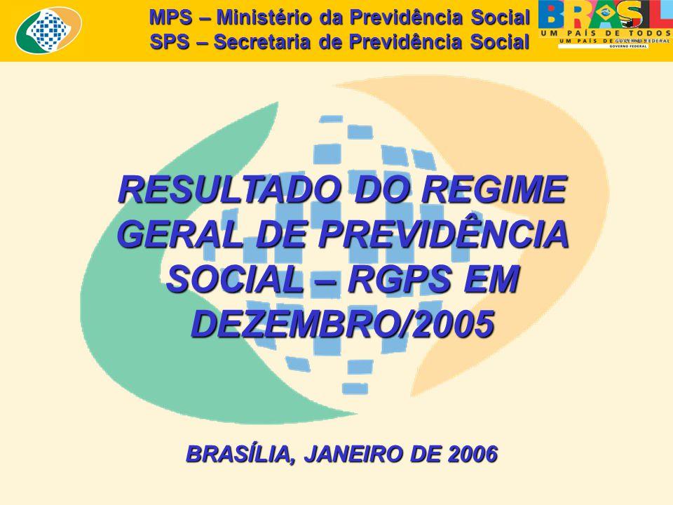 MPS – Ministério da Previdência Social SPS – Secretaria de Previdência Social RESULTADO DO REGIME GERAL DE PREVIDÊNCIA SOCIAL – RGPS EM DEZEMBRO/2005 BRASÍLIA, JANEIRO DE 2006