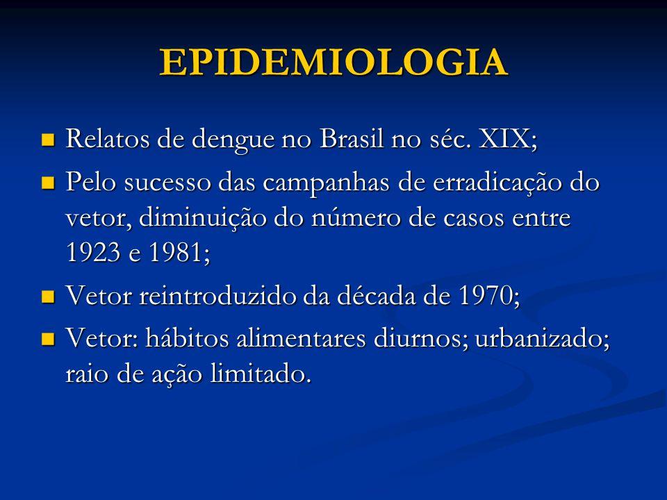 EPIDEMIOLOGIA Relatos de dengue no Brasil no séc.XIX; Relatos de dengue no Brasil no séc.