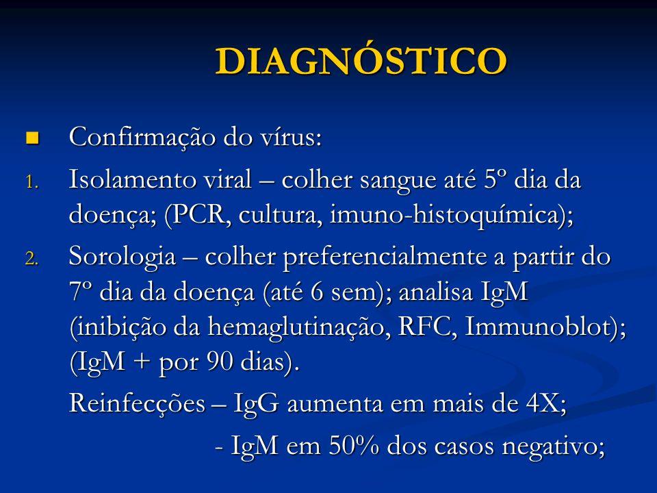 DIAGNÓSTICO Confirmação do vírus: Confirmação do vírus: 1.