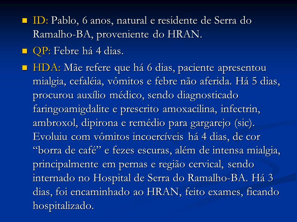 ID: Pablo, 6 anos, natural e residente de Serra do Ramalho-BA, proveniente do HRAN.