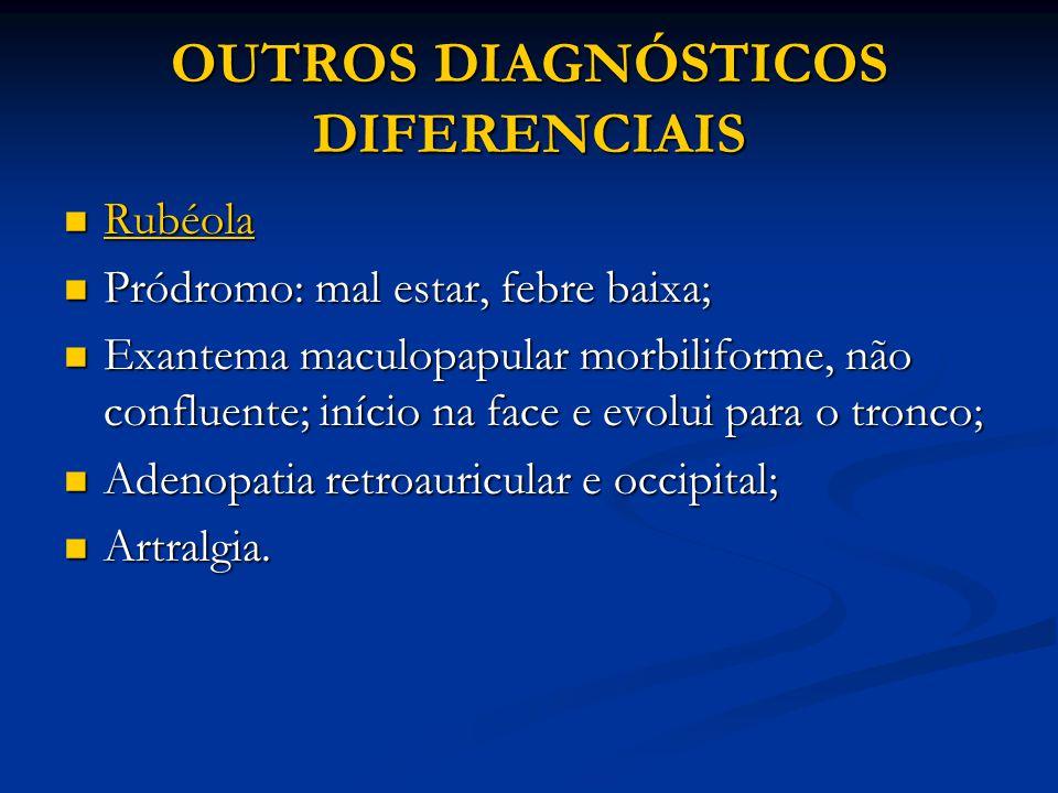 OUTROS DIAGNÓSTICOS DIFERENCIAIS Rubéola Rubéola Pródromo: mal estar, febre baixa; Pródromo: mal estar, febre baixa; Exantema maculopapular morbiliforme, não confluente; início na face e evolui para o tronco; Exantema maculopapular morbiliforme, não confluente; início na face e evolui para o tronco; Adenopatia retroauricular e occipital; Adenopatia retroauricular e occipital; Artralgia.