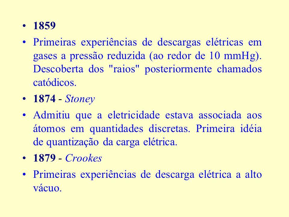 1859 Primeiras experiências de descargas elétricas em gases a pressão reduzida (ao redor de 10 mmHg).