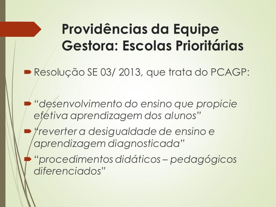 Providências da Equipe Gestora: Escolas Prioritárias Resolução SE 03/ 2013, que trata do PCAGP: desenvolvimento do ensino que propicie efetiva aprendi