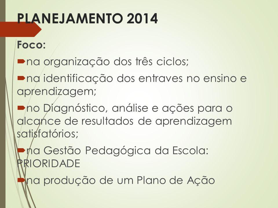 PLANEJAMENTO 2014 Foco: na organização dos três ciclos; na identificação dos entraves no ensino e aprendizagem; no Diagnóstico, análise e ações para o
