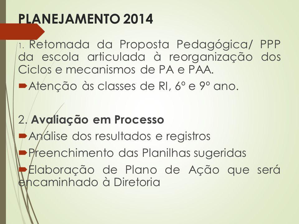 PLANEJAMENTO 2014 1. Retomada da Proposta Pedagógica/ PPP da escola articulada à reorganização dos Ciclos e mecanismos de PA e PAA. Atenção às classes
