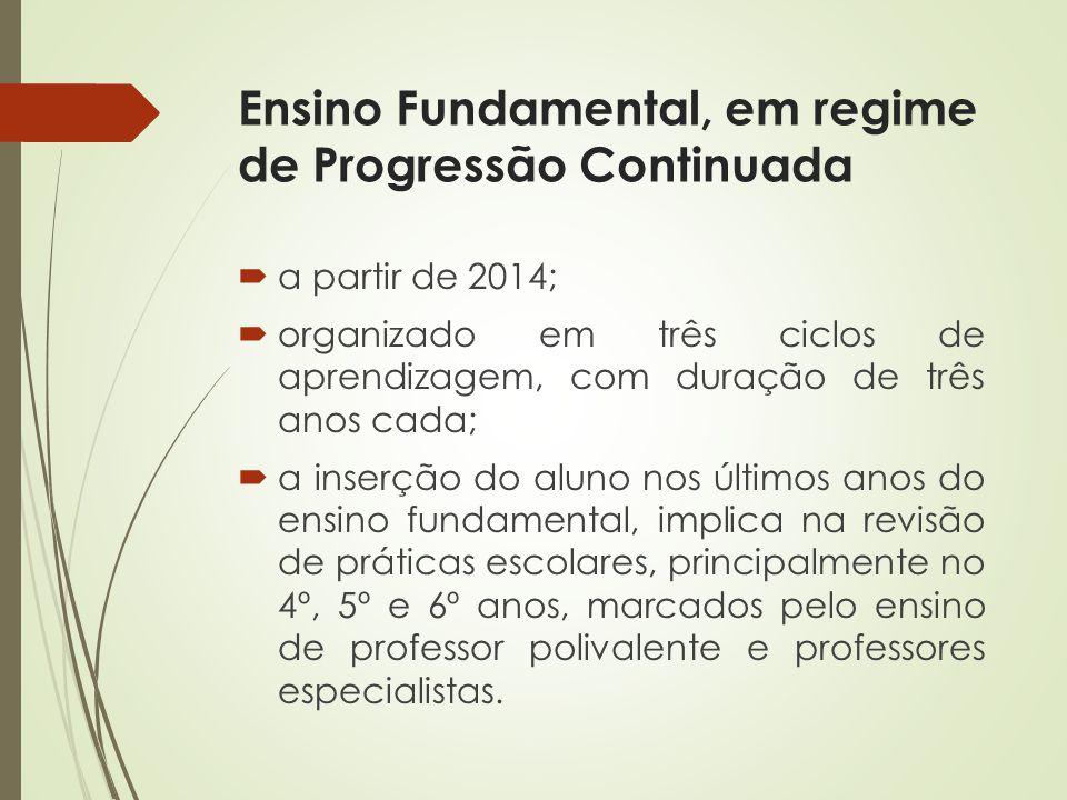 Ensino Fundamental, em regime de Progressão Continuada a partir de 2014; organizado em três ciclos de aprendizagem, com duração de três anos cada; a i