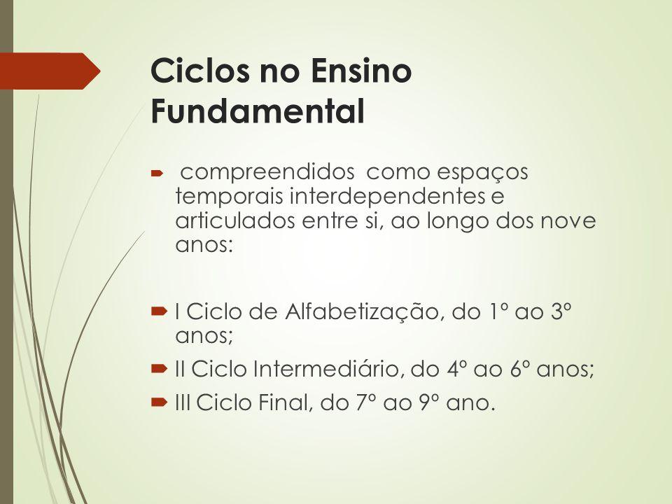 Final dos Ciclos -Ciclo de Alfabetização § 1º do Artigo 6º da Res.