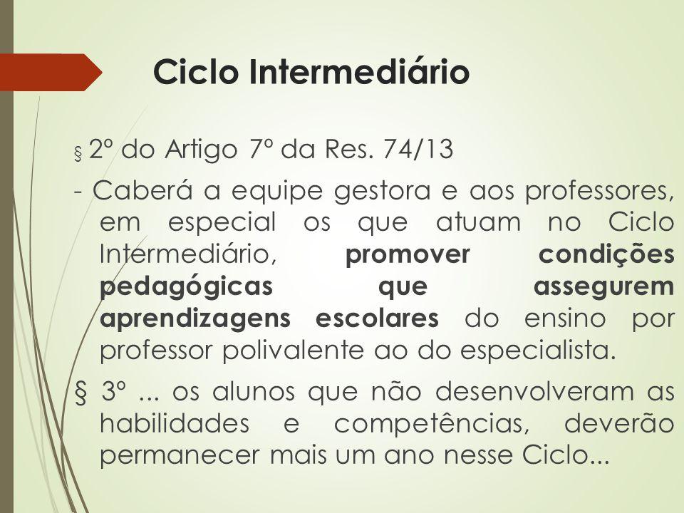 Ciclo Intermediário § 2º do Artigo 7º da Res. 74/13 - Caberá a equipe gestora e aos professores, em especial os que atuam no Ciclo Intermediário, prom