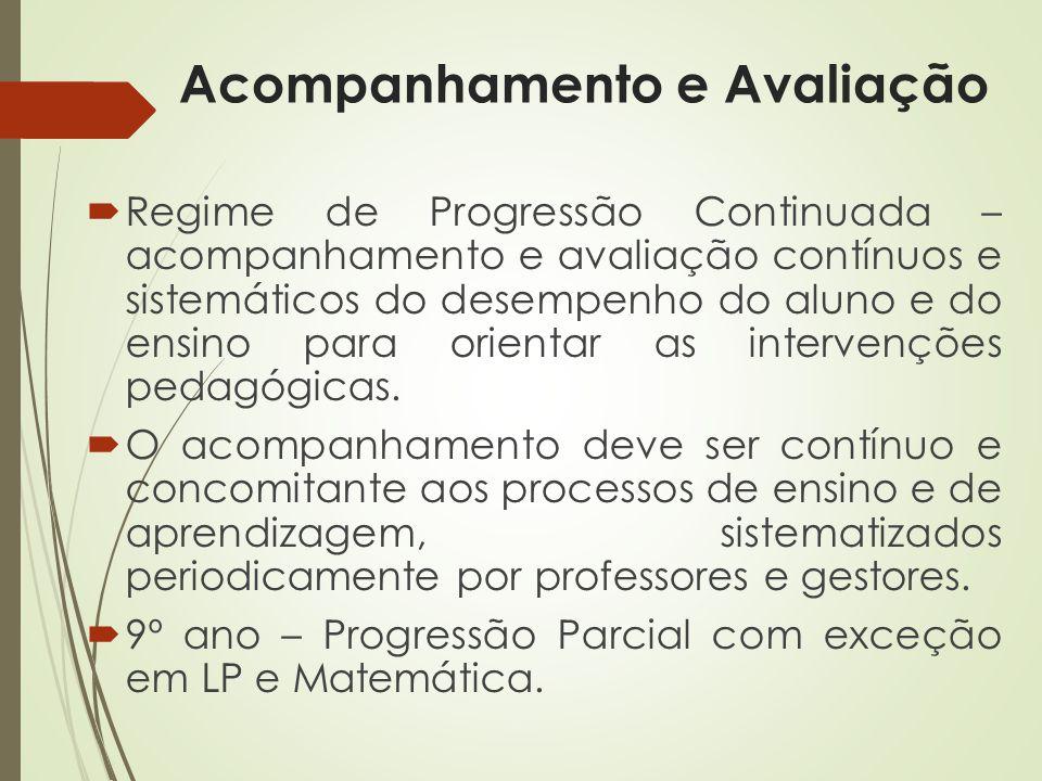 Acompanhamento e Avaliação Regime de Progressão Continuada – acompanhamento e avaliação contínuos e sistemáticos do desempenho do aluno e do ensino pa