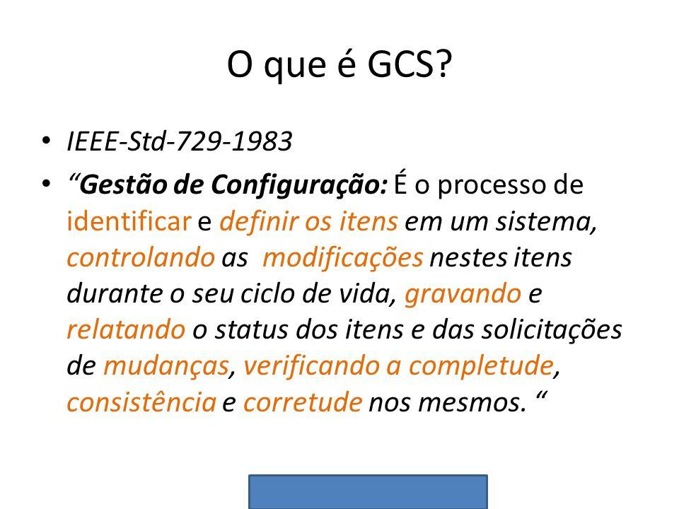 O que é GCS? IEEE-Std-729-1983 Gestão de Configuração: É o processo de identificar e definir os itens em um sistema, controlando as modificações neste