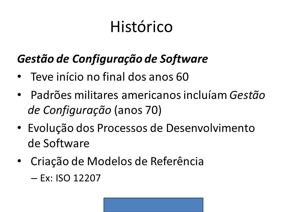 Histórico Gestão de Configuração de Software Teve início no final dos anos 60 Padrões militares americanos incluíam Gestão de Configuração (anos 70) E