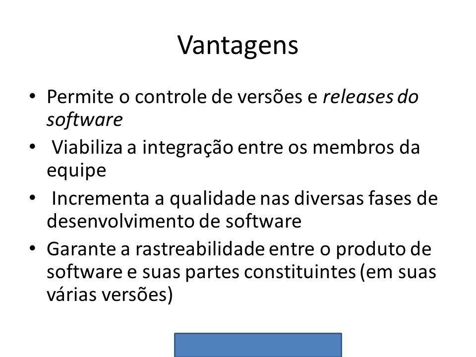 Vantagens Permite o controle de versões e releases do software Viabiliza a integração entre os membros da equipe Incrementa a qualidade nas diversas f