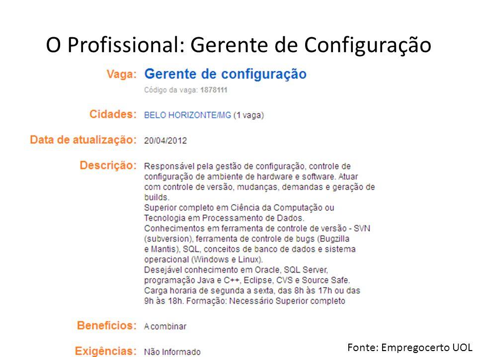 O Profissional: Gerente de Configuração Fonte: Empregocerto UOL