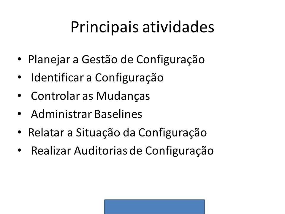Principais atividades Planejar a Gestão de Configuração Identificar a Configuração Controlar as Mudanças Administrar Baselines Relatar a Situação da C