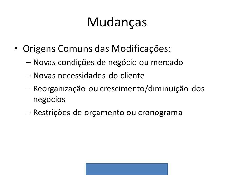 Mudanças Origens Comuns das Modificações: – Novas condições de negócio ou mercado – Novas necessidades do cliente – Reorganização ou crescimento/dimin