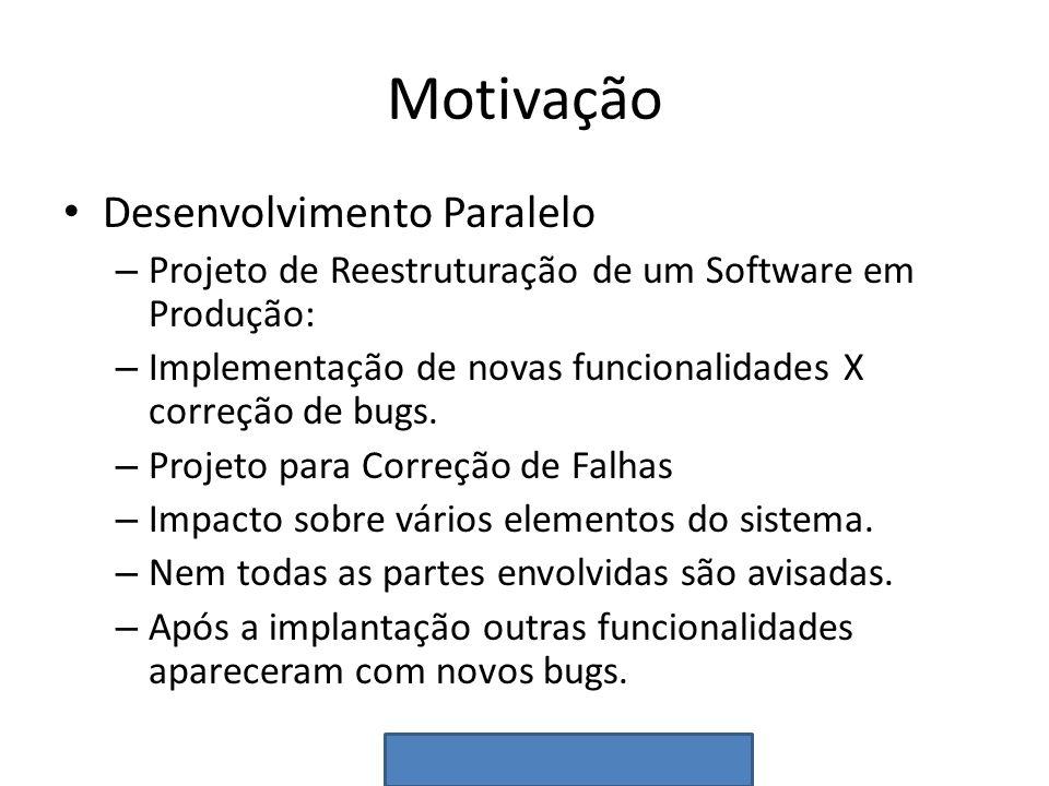 Motivação Desenvolvimento Paralelo – Projeto de Reestruturação de um Software em Produção: – Implementação de novas funcionalidades X correção de bugs