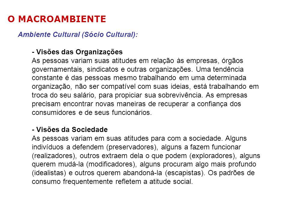 Ambiente Cultural (Sócio Cultural): - Visões das Organizações As pessoas variam suas atitudes em relação às empresas, órgãos governamentais, sindicato