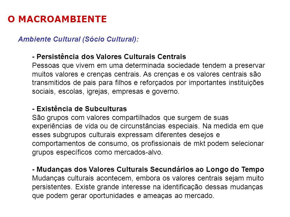Ambiente Cultural (Sócio Cultural): - Persistência dos Valores Culturais Centrais Pessoas que vivem em uma determinada sociedade tendem a preservar mu