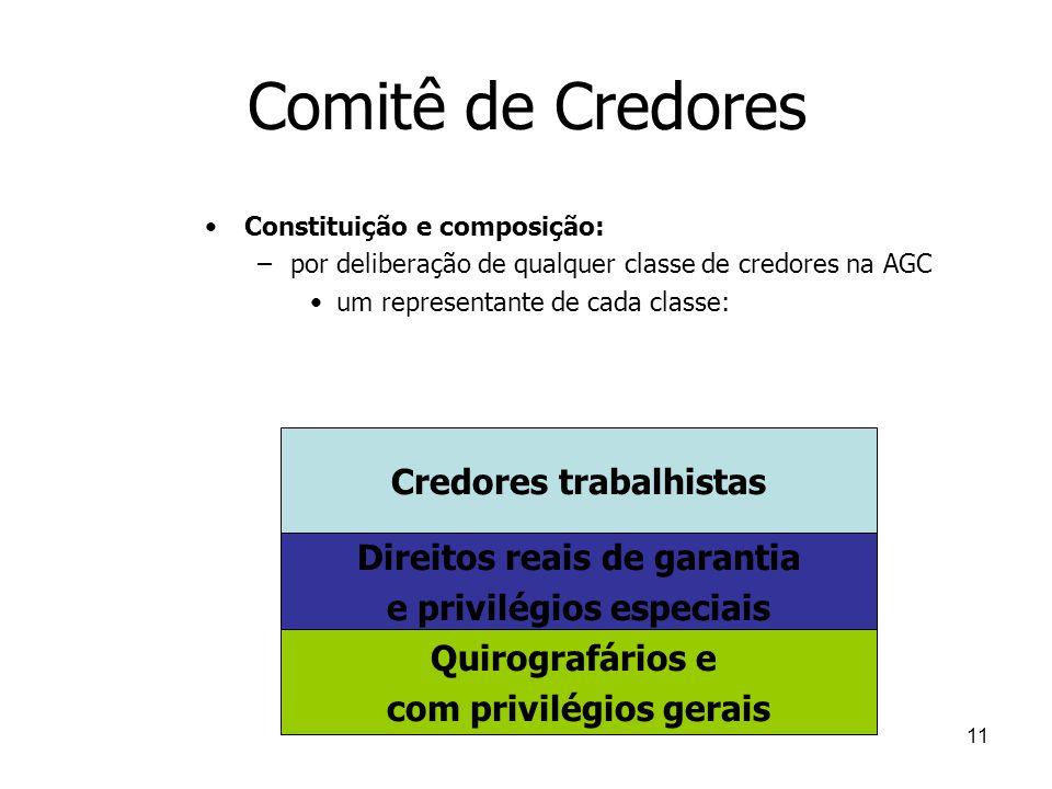 11 Comitê de Credores Constituição e composição: –por deliberação de qualquer classe de credores na AGC um representante de cada classe: Credores trab