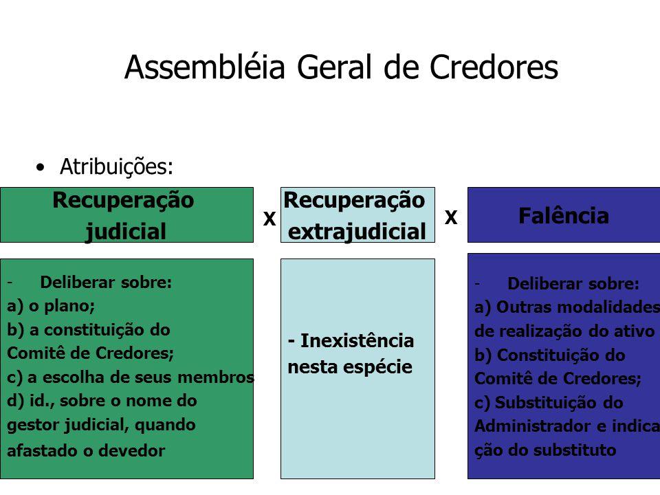 13 Assembléia Geral de Credores Atribuições: Recuperação judicial Recuperação extrajudicial Falência -Deliberar sobre: a) o plano; b) a constituição d