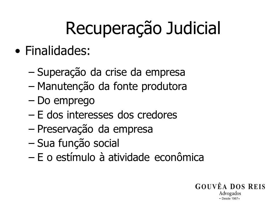 18 Recuperação Judicial Finalidades: –Superação da crise da empresa –Manutenção da fonte produtora –Do emprego –E dos interesses dos credores –Preserv