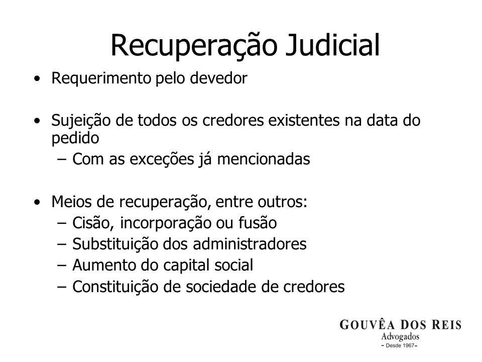 19 Recuperação Judicial Requerimento pelo devedor Sujeição de todos os credores existentes na data do pedido –Com as exceções já mencionadas Meios de