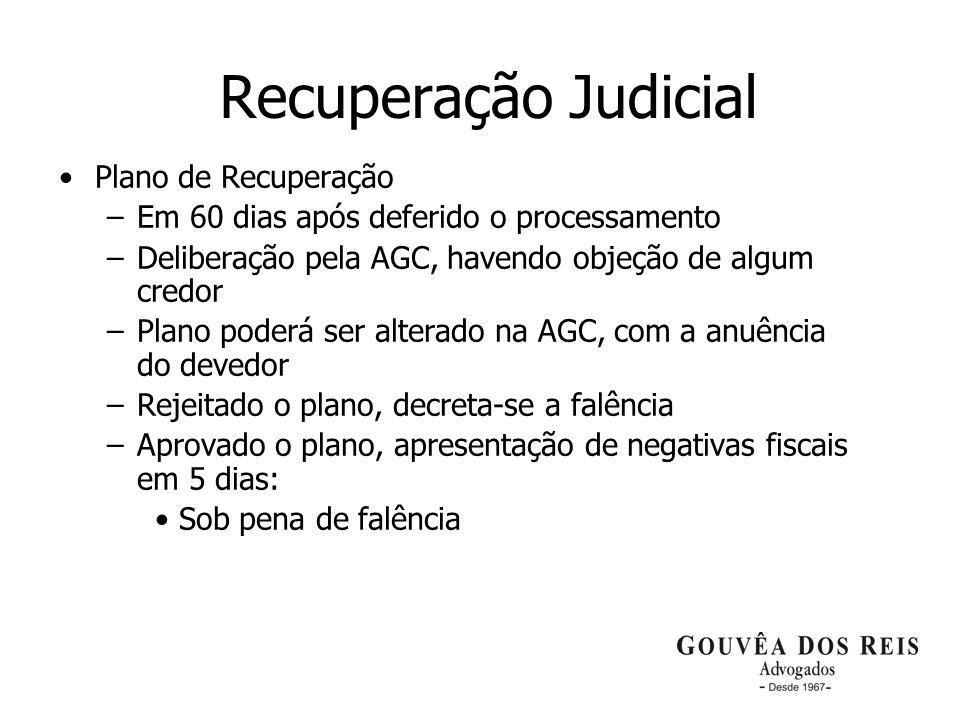 20 Recuperação Judicial Plano de Recuperação –Em 60 dias após deferido o processamento –Deliberação pela AGC, havendo objeção de algum credor –Plano p