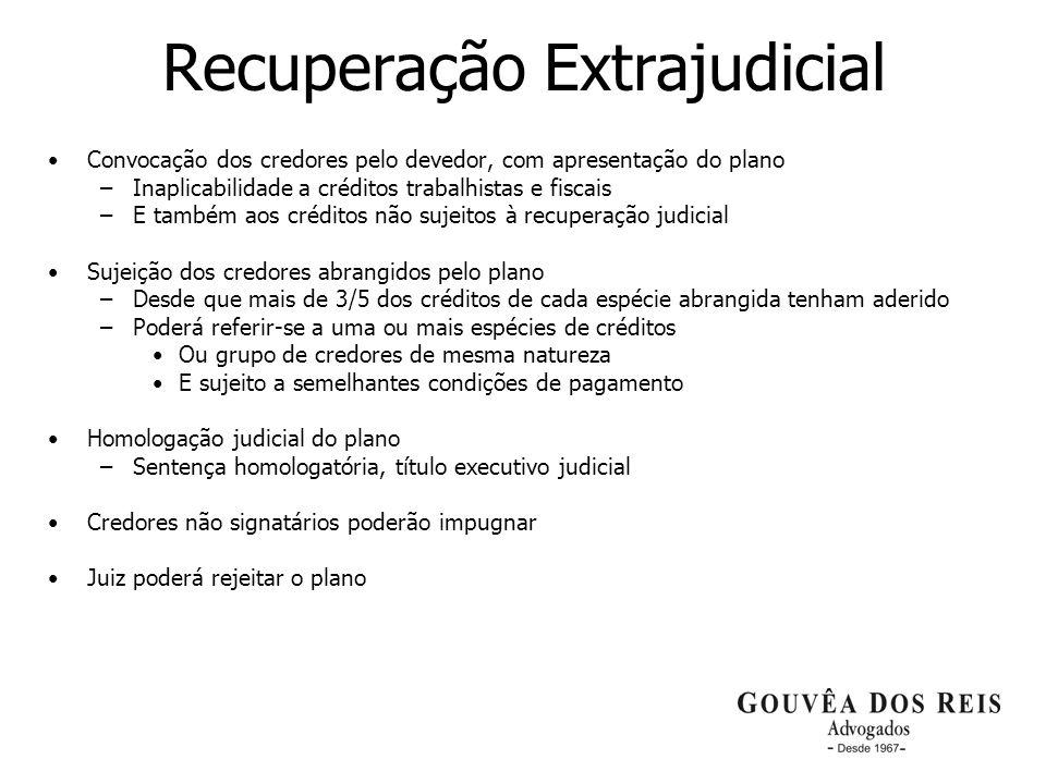 23 Recuperação Extrajudicial Convocação dos credores pelo devedor, com apresentação do plano –Inaplicabilidade a créditos trabalhistas e fiscais –E ta