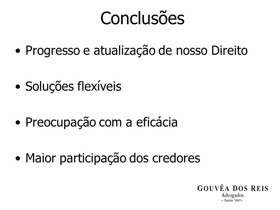 27 Conclusões Progresso e atualização de nosso Direito Soluções flexíveis Preocupação com a eficácia Maior participação dos credores