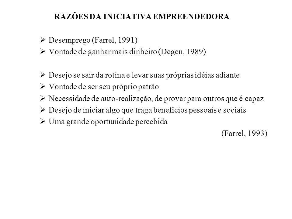 RAZÕES DA INICIATIVA EMPREENDEDORA Desemprego (Farrel, 1991) Vontade de ganhar mais dinheiro (Degen, 1989) Desejo se sair da rotina e levar suas própr