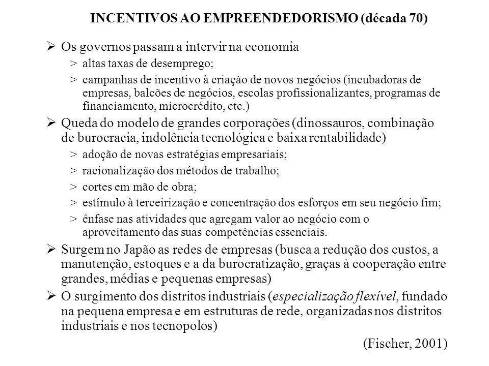 INCENTIVOS AO EMPREENDEDORISMO (década 70) Os governos passam a intervir na economia >altas taxas de desemprego; >campanhas de incentivo à criação de