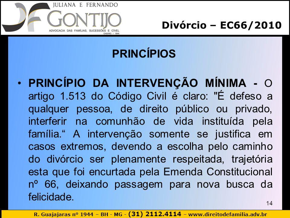 R. Guajajaras nº 1944 – BH - MG - (31) 2112.4114 – www.direitodefamilia.adv.br PRINCÍPIOS 14 PRINCÍPIO DA INTERVENÇÃO MÍNIMA - O artigo 1.513 do Códig