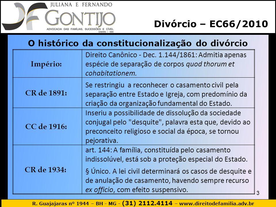 R. Guajajaras nº 1944 – BH - MG - (31) 2112.4114 – www.direitodefamilia.adv.br 3 Divórcio – EC66/2010 O histórico da constitucionalização do divórcio