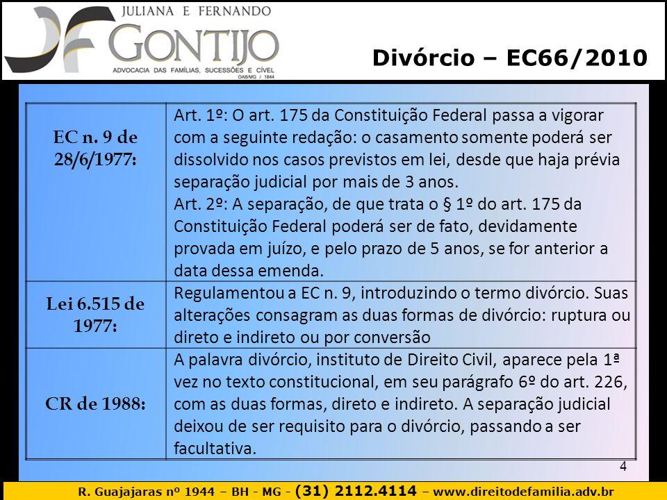 R. Guajajaras nº 1944 – BH - MG - (31) 2112.4114 – www.direitodefamilia.adv.br EC n. 9 de 28/6/1977: Art. 1º: O art. 175 da Constituição Federal passa