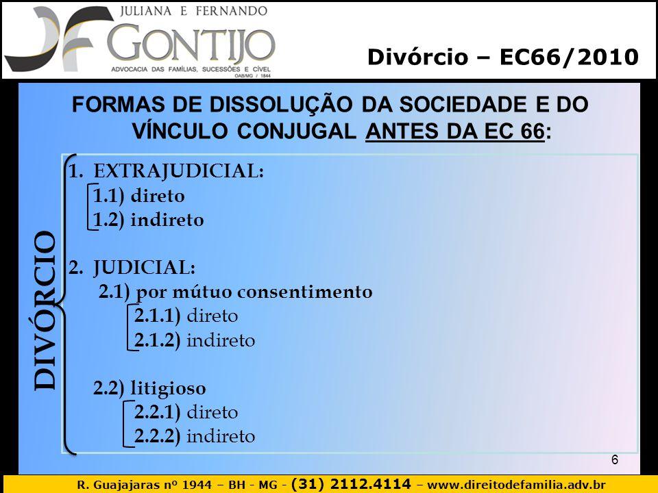 R. Guajajaras nº 1944 – BH - MG - (31) 2112.4114 – www.direitodefamilia.adv.br FORMAS DE DISSOLUÇÃO DA SOCIEDADE E DO VÍNCULO CONJUGAL ANTES DA EC 66: