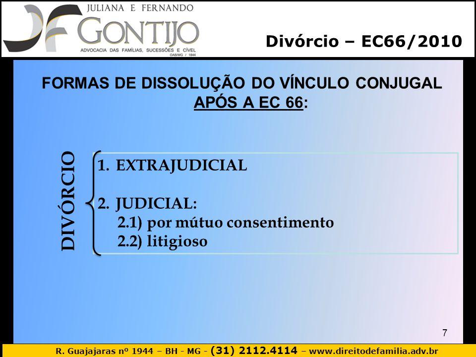 R. Guajajaras nº 1944 – BH - MG - (31) 2112.4114 – www.direitodefamilia.adv.br FORMAS DE DISSOLUÇÃO DO VÍNCULO CONJUGAL APÓS A EC 66: 7 1.EXTRAJUDICIA