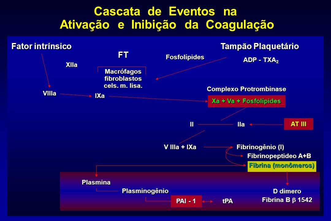 Cascata de Eventos na Ativação e Inibição da Coagulação Fator intrínsico Tampão Plaquetário XIIa VIIIa IXa FT Macrófagos fibroblastos cels. m. lisa. C